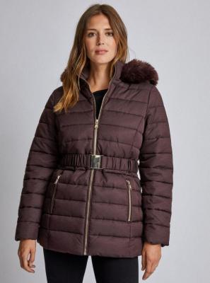 Ciemnobrązowa pikowana kurtka zimowa Dorothy Perkins - 50