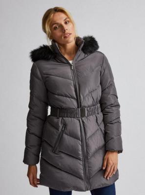 Szary pikowany płaszcz zimowy Dorothy Perkins - XXL