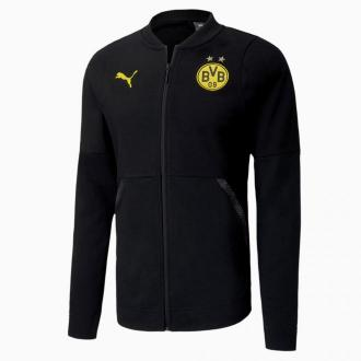 PUMA Piłkarska Bluza Zapinana BVB Casuals, Czarny, rozmiar XS, Odzież