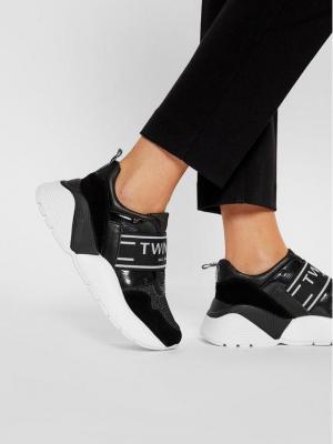 TwinSet Sneakersy Running 202TCP052 Czarny