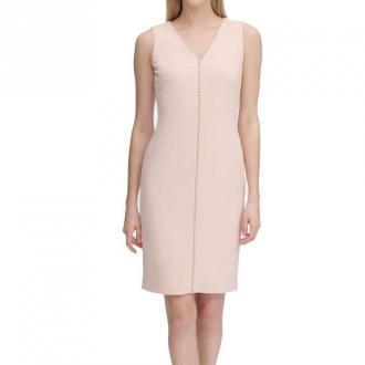 Calvin Klein Dress Blush Sheath Beaded V Neck Sukienki Różowy Dorośli