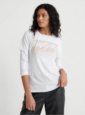 Jasnoszara koszulka damska z nadrukiem Superdry - M