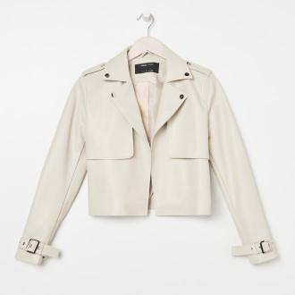 Sinsay - Krótka kurtka z imitacji skóry - Kremowy