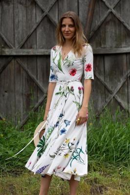Sukienka kopertowa DREAMGIRL kwiaty polskie XXS Risk Made in Warsaw