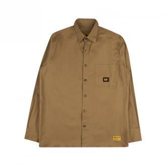 Caterpillar Classic Shirt Koszule Brązowy Dorośli Mężczyźni Rozmiar: M