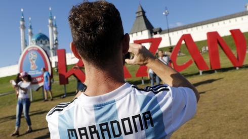 Argentyńscy kibice są już w Kazaniu, gdzie Albicelestes zagrają o godzinie 16 z Francją w 1/8 finału (fot. PAP/EPA)