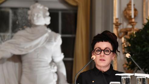 Olga Tokarczuk podczas przemowy noblowskiej
