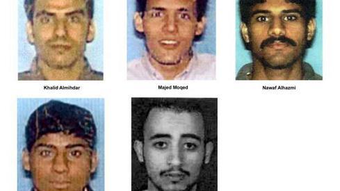 Zdjęcie: GettyImages via FBI - - terroryści w samolocie linii American Airlines lot 77