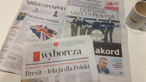 Polskie dzienniki o brexicie na pierwszych stronach.