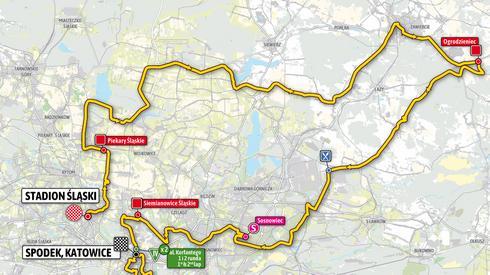 Oto trasa pierwszego etapu. Rozpocznie się on na Stadionie Śląskim w Chorzowie, a zakończy się w