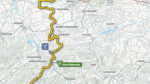 Mapa ostatniego etapu. Wyścig zakończy się w Krakowie