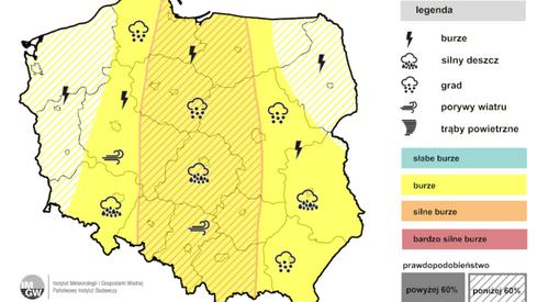 Prognoza burz na środę (IMGW)