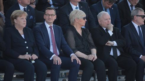 Angela Merkel w towarzystwie Jarosława Kaczyńskiego, fot. Agencja Gazeta