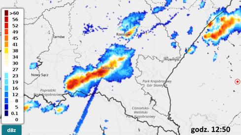Silna burza na granicy woj. podkarpackiego z woj. małopolskim (IMGW)