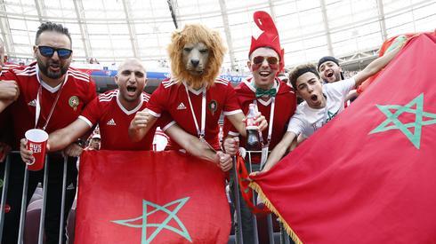 Fani reprezentacji Maroka na stadionie Łużniki. Ich zespół przegrał pierwsze spotkanie z Iranem, więc z Portugalią
