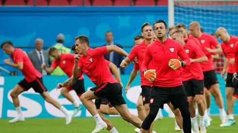 Na oficjalnym treningu Polaków na stadionie w Kazaniu dominowało skupienie (fot. PAP/EPA)