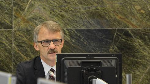 Przewodniczący KRS Leszek Mazur podczas pierwszego posiedzenia Krajowej Rady Sądownictwa. Autor: Jakub Kamiński/PAP