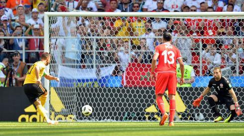 Tak Eden Hazard otworzył wynik meczy na Otkrytije Arena (fot. PAP/EPA)