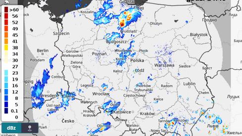Radar meteorologiczny, godz. 14:40 (IMGW)