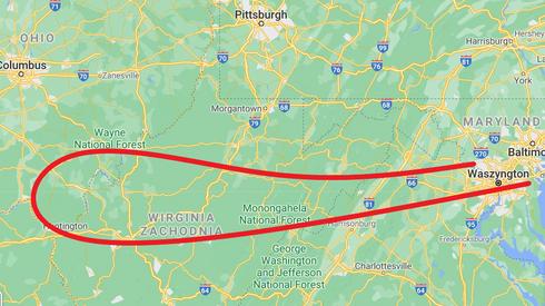 Tak wyglądała trasa lotu American Airlines, lot nr 77.