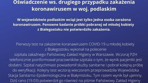 Oświadczenie Wojewódzkiej Stacji-Sanitarno Epidemiologicznej w Białymstoku i wojewody mazowieckiego