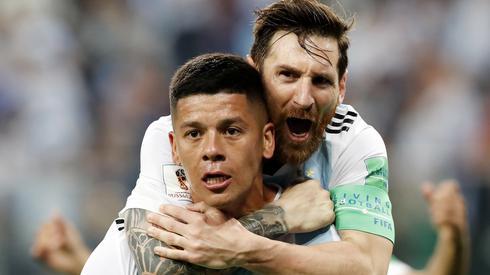 Marcus Rojo i Lionel Messi - ich gole dały Argentyńczykom awans do 1/8 finału (fot. PAP/EPA)