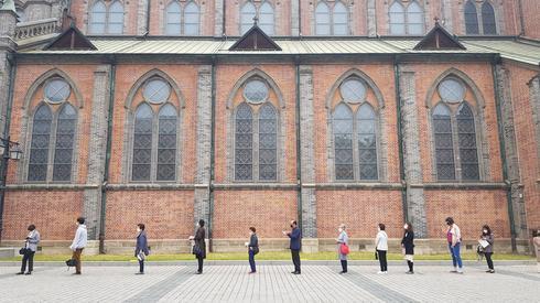 Przed kościołem w Seulu w Korei Południowej, 3 maja 2020 r. / fot. YONHAP, PAP
