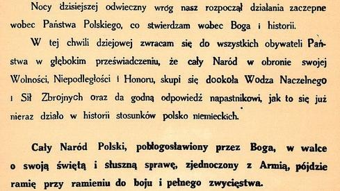 Orędzie prezydenta Ignacego Mościckiego z 1 września 1939 r.