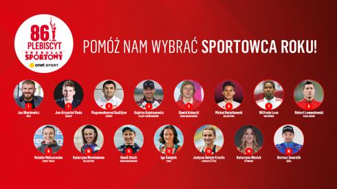 Lista nominowanych sportowców.