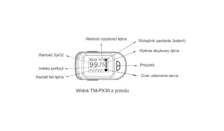 Pulsoksymetr Tm-Px 30 z funkcją anty-ruch