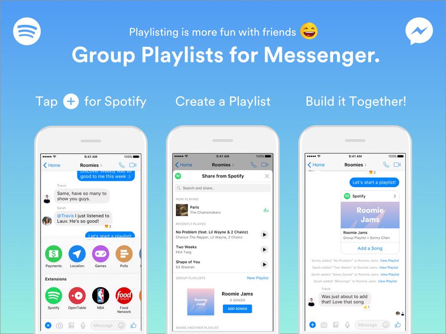 Grupowe playlisty w Messengerze