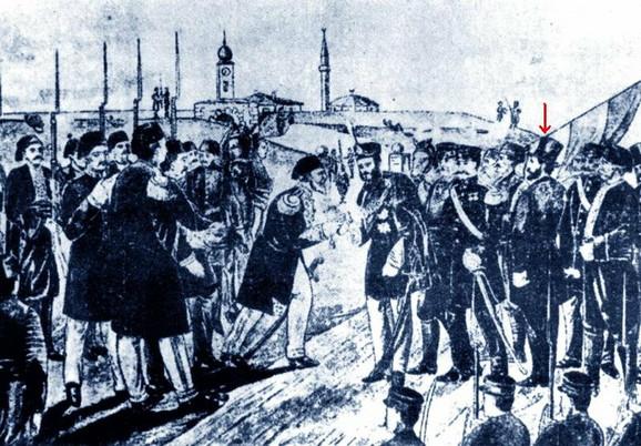 Ipolit Monden, prvi ministar vojni Kneževine Srbije (označen strelicom)
