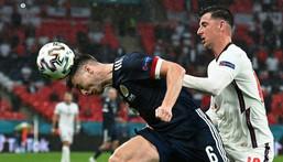 Scotland defender Kieran Tierney (left) impressed against England at Wembley Creator: JUSTIN TALLIS