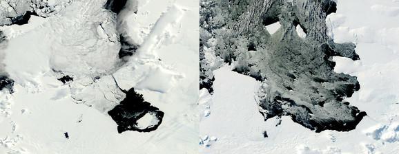 Fotografije NASA od 10. decembra 2013. (L) i 11. marta 2014. prikazuju odvajanje ledenog brega B31 od glečera Pajn Ajland (kliknuti + za uvećanje)