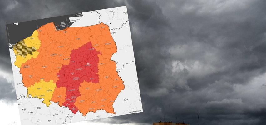 Pogodowy armagedon w centralnej Polsce. IMGW wydało ostrzeżenia trzeciego stopnia przed burzami i ulewami