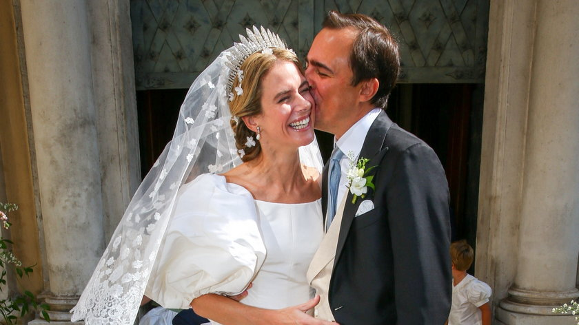 Maria Anunciata, księżniczka Lichtensteinu, w ślubnej sukience w stylu Diany