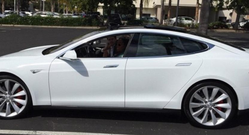 Oprah in her Tesla Model S