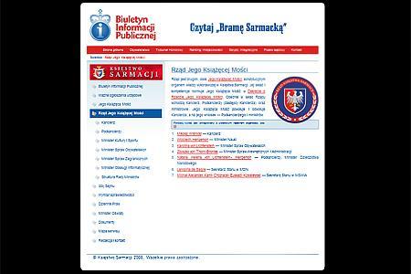 Strona Biuletynu Informacji Publicznej Księstwa Sarmacji prezentująca obecny skład Rządu. W mikronacjach ministrem, przy odrobinie szczęścia, zostać może każdy.
