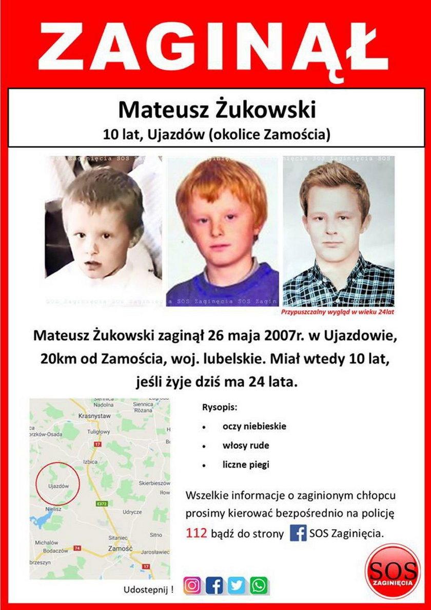 Ujazdów: Mateusz Żukowski zaginął 13 lat temu. Tak może wyglądać