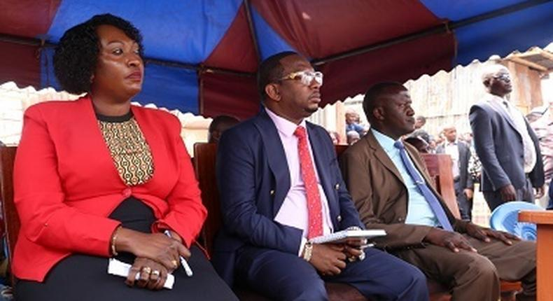 Governor Mike Sonko with nominated DG Anne Mwenda