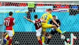 Christoph Baumgartner (C) scored the goal that put Austria into the last 16 at Euro 2020 Creator: MARKO DJURICA
