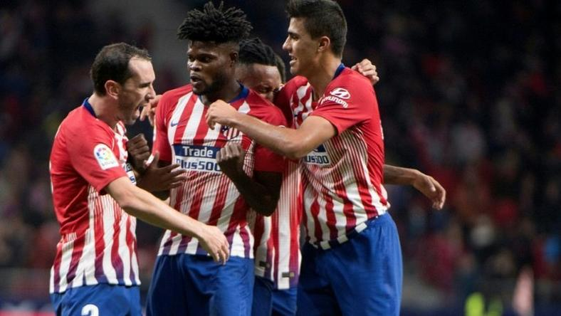 Diego Godin (L) grabbed a winner for Atletico Madrid in injury time