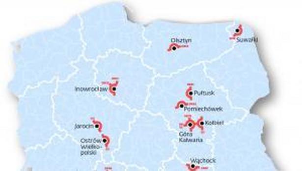 Mapa obwodnic, które zostały usunięte z planów