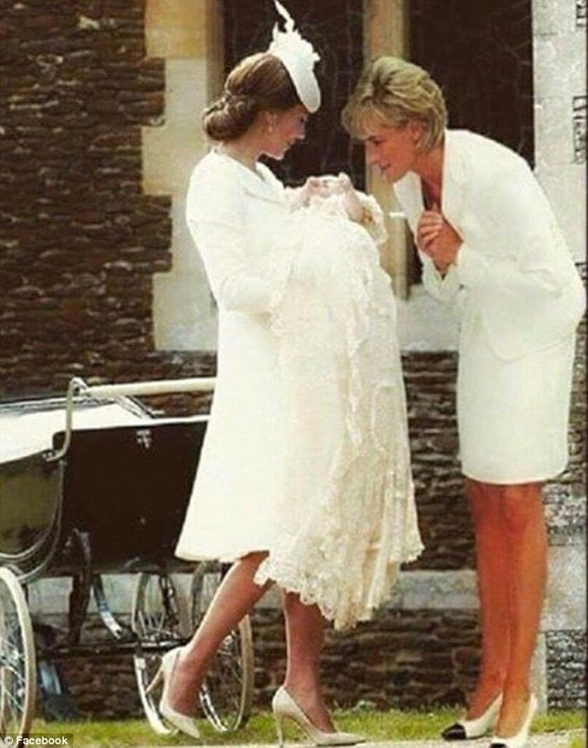Księżna Diana na chrzcie Charlotte