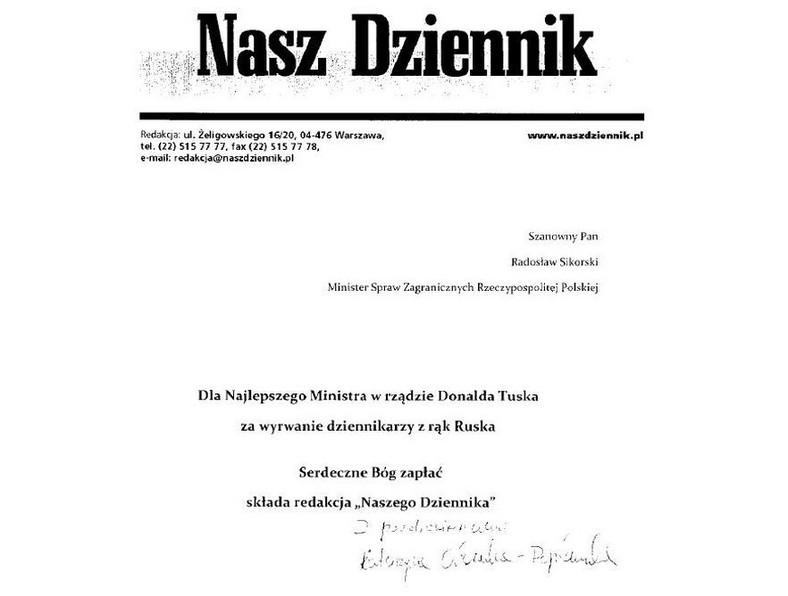 """List przesłany Radosławowi Sikorskiemu przez redakcję """"Naszego Dziennika"""""""