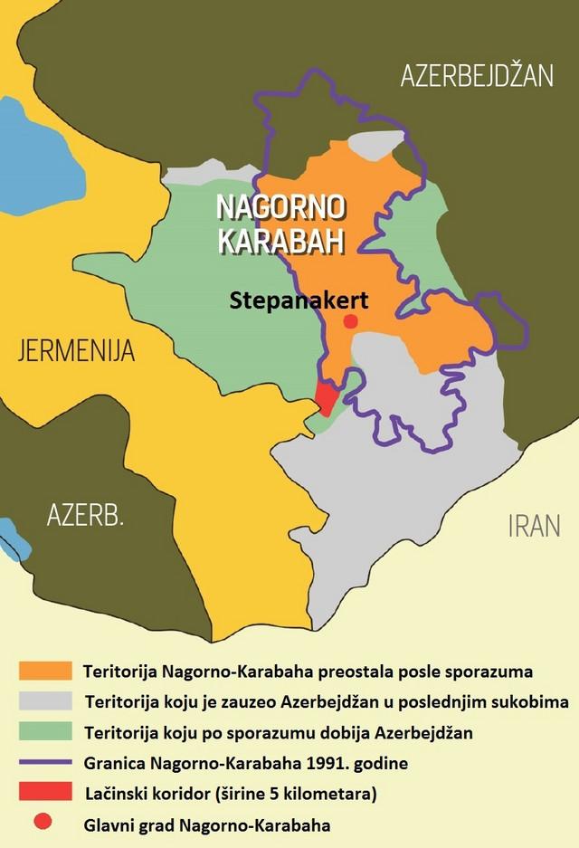 Mapa koja pokazuje kako izgleda odnos snaga u Nagorno-Karabahu nakon potpisivanja sporazuma