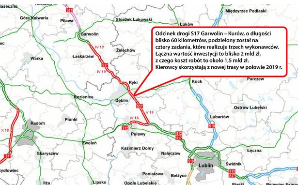 S17 między końcem obwodnicy Garwolina a węzłem Kurów Zachód. - ssc.siskom.waw.pl za skyscraper.com