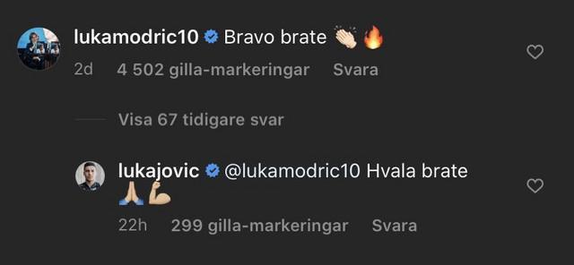 Luka Jović i Luka Modrić razmenili poruke na Instagramu