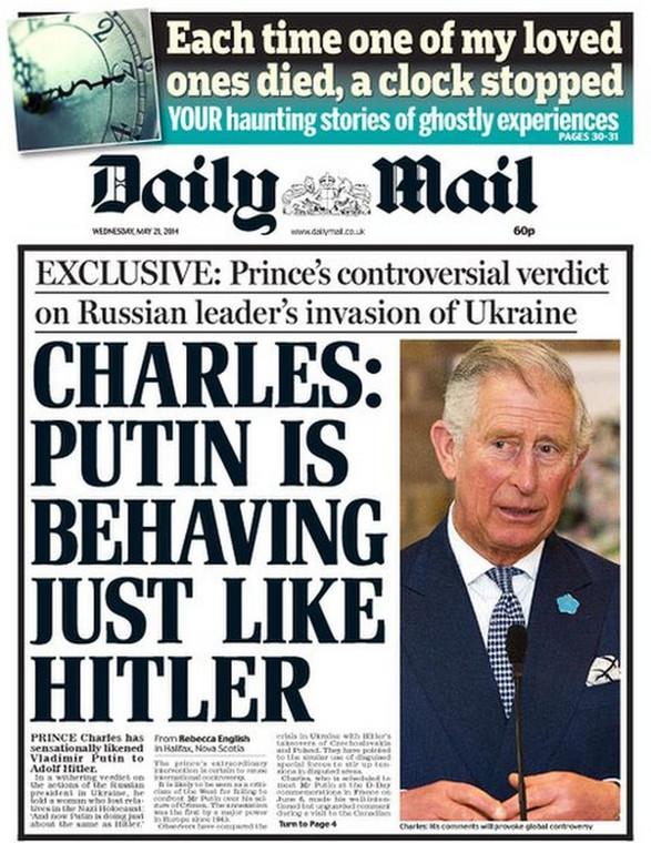 """""""Daily Mail"""" skupia się na wpadce księcia Karola, który porównał Putina do Hitlera"""
