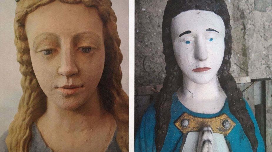 Figura po (z lewej)  i przed renowacją (z prawej)